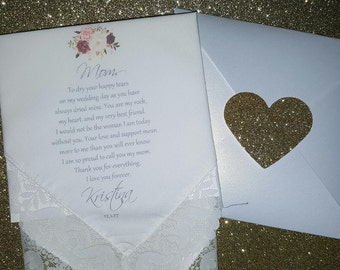 Mother of the Bride Hankerchief-Wedding Handkerchief-PRINTED-CUSTOMIZED-Mother of the bride Gift-BOHO weddings. Rustic wedding ideas