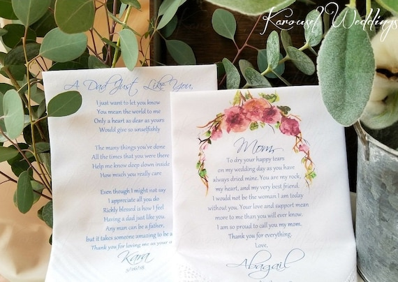Mother And Father Of The Bride Gifts Wedding Handkerchief Etsy