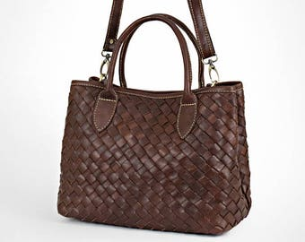 Leather bag - brown leather bag - leather purse - woven leather bag - leather crossbody bag - leather handbag - leather bag women -  ma 