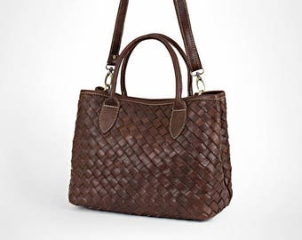 Leather bag - brown leather bag - leather purse - woven leather bag - leather crossbody bag - leather handbag - leather bag women -  hc 