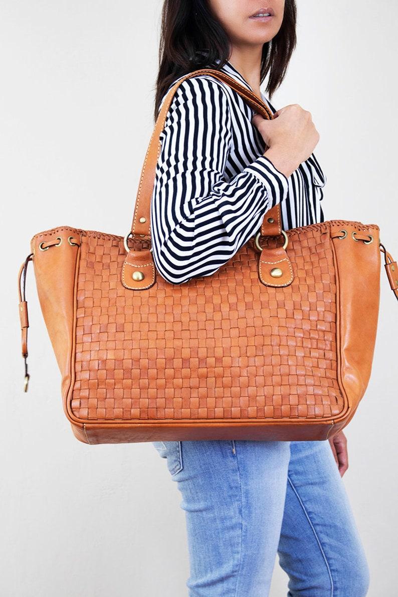 84d2e42c73 Large leather bag zipper tote bag laptop bag women brown   Etsy