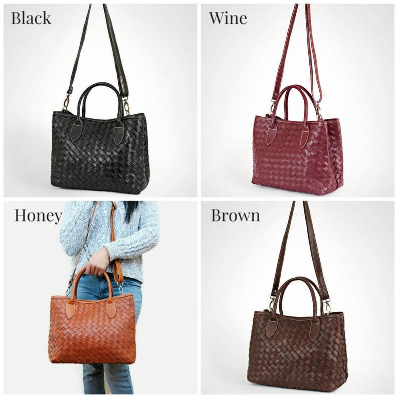 leather tote Handmade woven leather bag leather bag women work leather tote medium leather bag brown leather tote bag for women