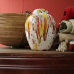 Vintage Ceramic Ginger Jar, Southwestern Ceramic Cookie Jar with Orange, Brown, Yellow Drip Glaze, Speckled Pottery Jar, 1970s Canister