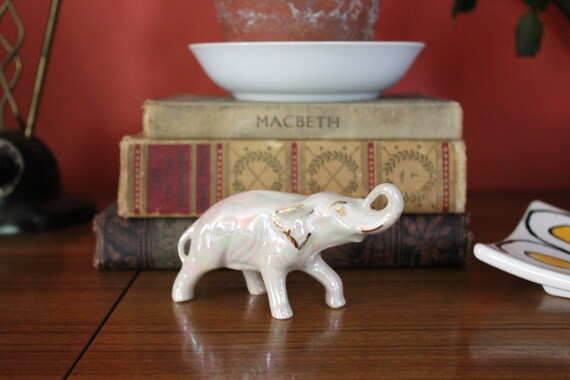 Vintage White Ceramic Elephant White And Gold Porcelain | Etsy