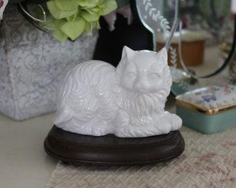 Vintage White Porcelain Cat on Wood Base, White Ceramic Cat, White Persian Cat Figurine, Long Haired White Cat Knick Knack