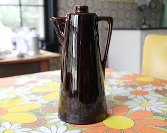 Midcentury Modern Ceramic Coffee Pot, Brown Ceramic Coffee Pot, Ceramic Decanter, Danish Style Coffee Pot, Coffee Pot for Your Cabin