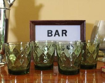 Retro Green Diamond Optic Rocks Glasses, Set of 4 Hazel Atlas Quilted Diamond Lowball Glasses, Short Avocado Green Drinking Glasses, Barware