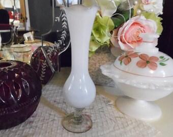 Small White Glass Vase, White Cased Glass Vase With Ruffled Top, White Bud Vase, Delicate White Vase For Your Wedding or Nursery
