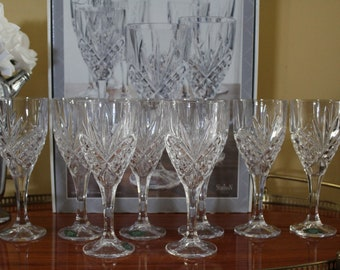 New in the Box Shannon Crystal by Godinger 8 Crystal Wine Goblets, Dublin Crystal Wine Glasses, Lead Crystal Stemware, Bridal Shower Gift