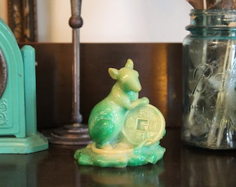 Vintage Chinese Faux Jade Rat with Lucky Wealth Coin, Year of the Rat Figurine, Green Faux Jadeite Rat, Chinese Zodiac Rat, Mouse Figurine