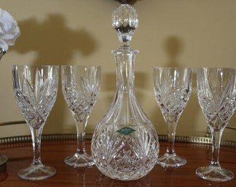 New in the Box Shannon Crystal by Godinger 5 Piece Crystal Wine Set, Dublin Crystal Decanter and 4 Wine Glasses, Lead Crystal Goblets