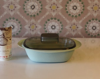 Mid Century Serving Bowl with Smoked Cover, Greyish Green Arnoldware Rogers Lustran Serving Dish, Space Age Plastic Bowl, 1960s Covered Dish