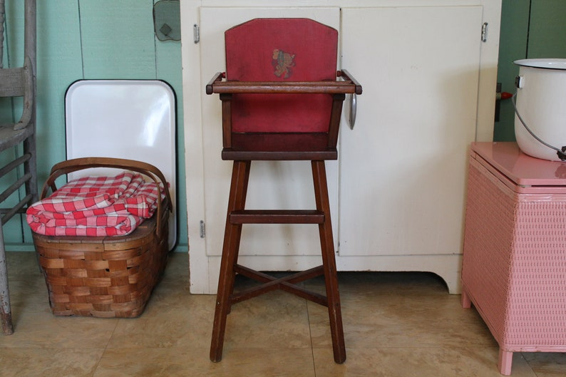 Vintage Doll High Chair 28 Red Toy High Chair Pla Doll Etsy