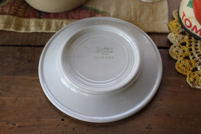 Greek Key on Diner Green Plymouth Pattern Hotel Plate Vintage Buffalo China Bread /& Butter Plate Restaurant Ware Dish with Green Band