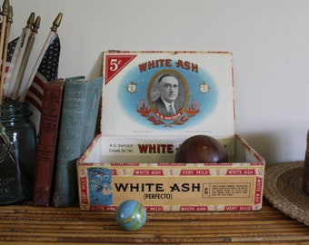 Vintage Cigar Box, White Ash Cigar Box, Snyder Cigar Box with Red, White & Blue Graphics, Storage Box, Retro Advertising, 4th of July Décor