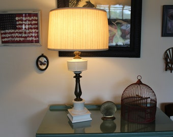 Vintage Large White Ceramic and Brass Hurricane Style Lamp with Drum Shade, Country Americana Lamp & Shade, 1950s Lamp, White Farmhouse Lamp