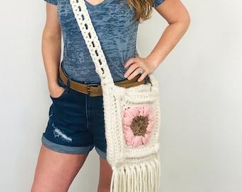 Summer Flowers Bohemian Messenger Bag   Crochet Pattern   By Stardust Gold Crochet
