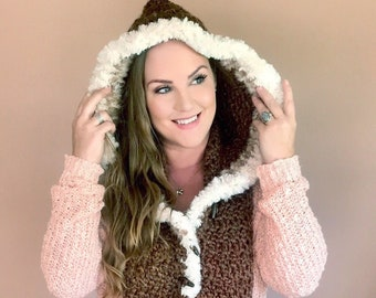 Kunik Scoodie   Pocketed Hooded Scarf with Fur   Crochet Chunky Scarf   Video Tutorial