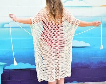 Corona Beach Coverall   Crochet Beach Coverall Plus Sizes Available   Sizes S, M, L, XL, XXL
