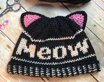 MEOW! Beanie   Crochet Beanie   Crochet Pattern   Video Tutorial   Easy to Follow Crochet Pattern - Soft and Warm