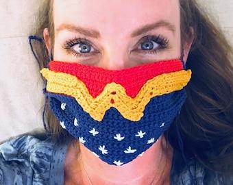 Wonder Woman Crochet Mask Cover (Inspired by)   by Stardust Gold Crochet   Beginner Friendly Crochet Pattern