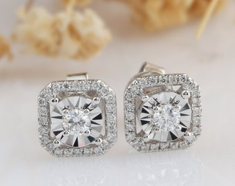 375f178d0 Diamond Earring, Natural Diamond 0.18CTW Center Round Cut Halo Accents 18k  White Gold Diamond Stud Earrings, Halo Diamond Earring Studs