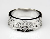 Small Esdomera Moissanite Center Wide Band 14k White Gold Video Game Style Men 39 s Gold Wedding Band (CFR0021-ESMSB)