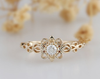 Diamonds & Gemstones Natural Certified Diamond 14k White Solid Gold Floral Nose Pin Jewelry Latest Technology Jewelry & Watches
