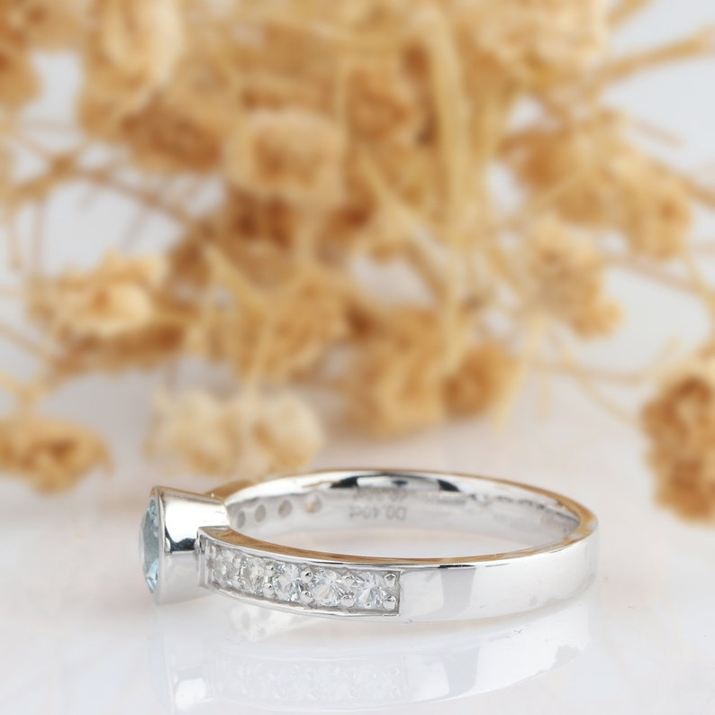 Bezel Set Engagement Ring Aquamarine Ring Round Cut 4.5mm Natural Aquamarine Bezel Ring Set 14k White Gold White Sapphire Accents Ring