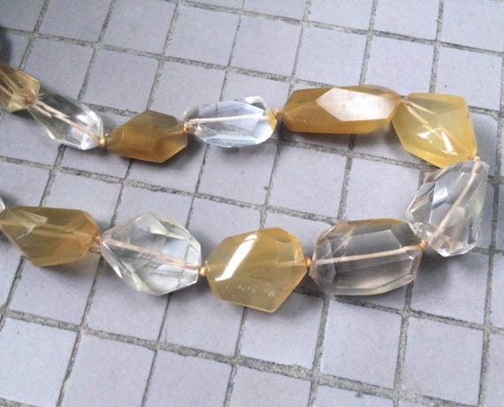 Full Strand Fine Quality Natural Yellow Hematoid Quartz Freeform Faceted Nugget Beads