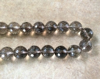 Full Strand Smoky Quartz Faceted 16MM Round Beads