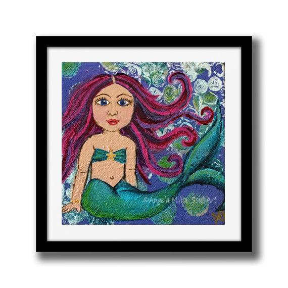Mermaid Mermaid Wall Art Mermaid Gifts Little Mermaid Etsy