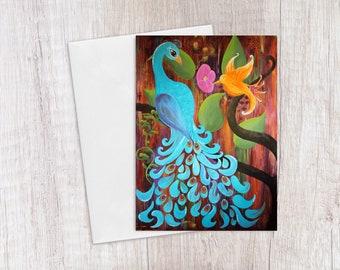 Peacock card - Peacock greeting card - Bird art card - Blank greeting card with envelope - 5x7 card with white envelope