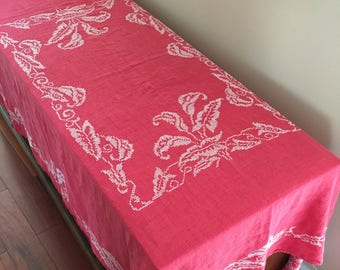 Embroidered vintage tablecloth/30s 1930s floral cotton tablecloth LINEN red tablecloth/Victorian decor embroidery shabby chic 40s 1940s