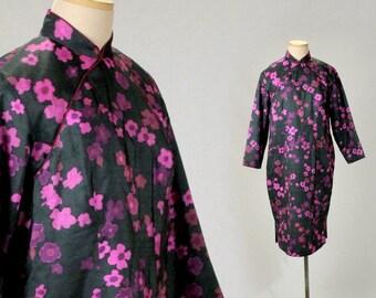 6459327343 Silk quilted cheongsam robe coat pink black floral Chinese dress robe women  M 6 long sleeve Vintage Asian mandarin satin winter cheongsam