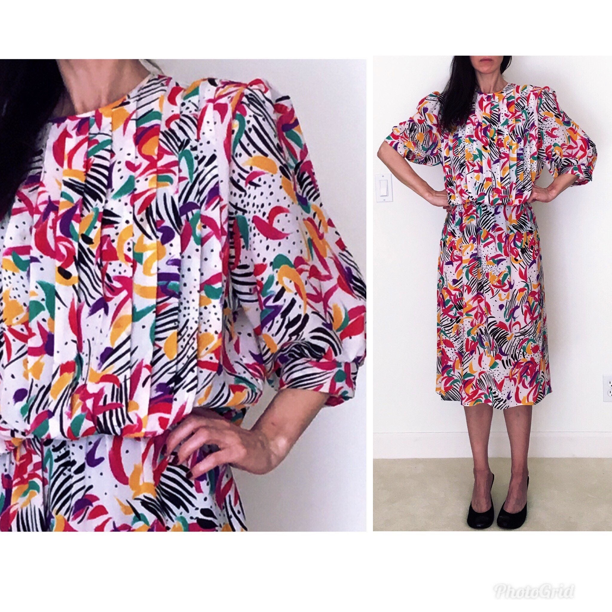 80s Novelty print dress L womenrainbow floral abstract print 80s dressVintage long sleeve secretary hot pink knee length a line midi dress