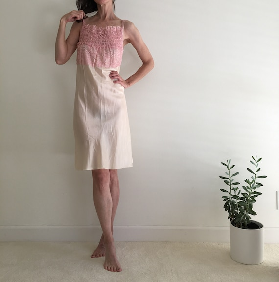 Vintage 1950s silk & lace ivory nightgown slip dr… - image 5