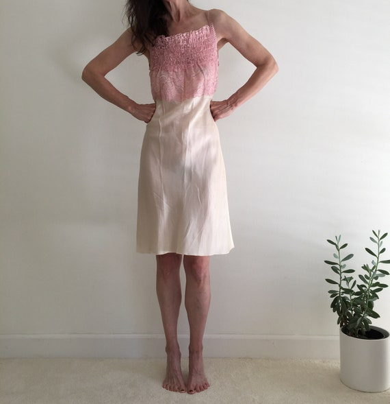 Vintage 1950s silk & lace ivory nightgown slip dr… - image 7