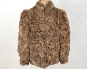 RESERVED FOR JENN Rabbit fur coat M-L/Vintage 1970s fur coat brown rabbit real fur chub 80s coat/boho 70s fur jacket disco puff shoulder