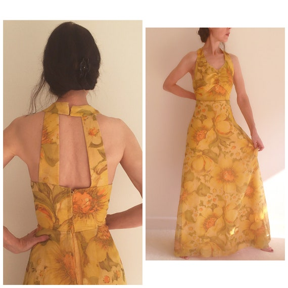 Vintage 70s keyhole chiffon boho maxi dress women