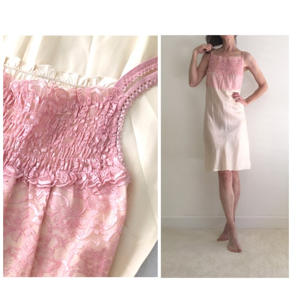 Vintage 1950s silk & lace ivory nightgown slip dr… - image 1