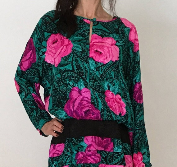women cocktail 90s silk sleeve jacquard rose long green 80s Vintage 4 batwing print S party shift teal ruffle pink skirt dress floral mini v7xE4wq