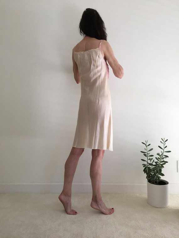Vintage 1950s silk & lace ivory nightgown slip dr… - image 4