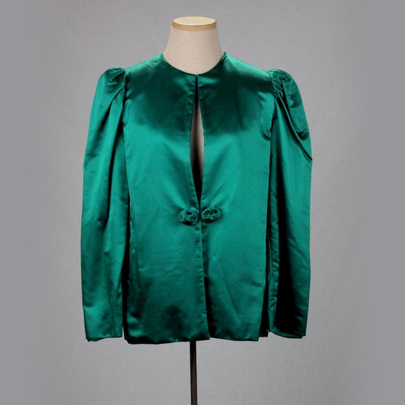 Vintage green evening jacket/1940s 40s blazer wome
