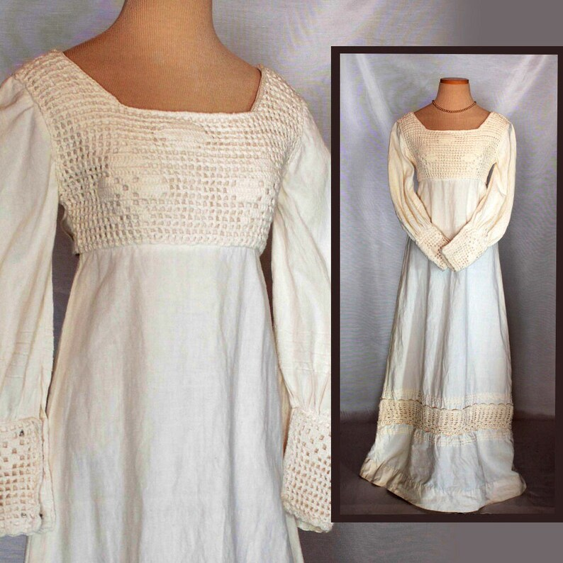 e00063cc992 XS vintage linen boho wedding dress women/60s 70s bohemian   Etsy