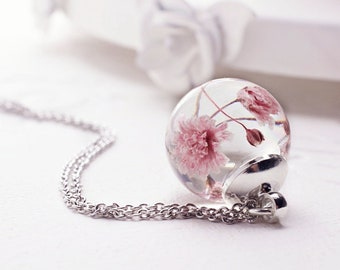 Real pink flower necklace Terrarium necklace Botanical necklace Resin necklace Flower girl gift