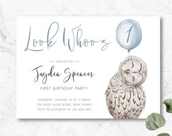 Boys First Birthday Invitation Look Whoos One 1 Owl Invite Blue Modern Simple
