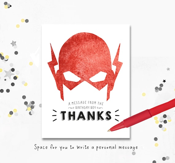 Thank You Cards The Flash Birthday Invite The Flash Etsy