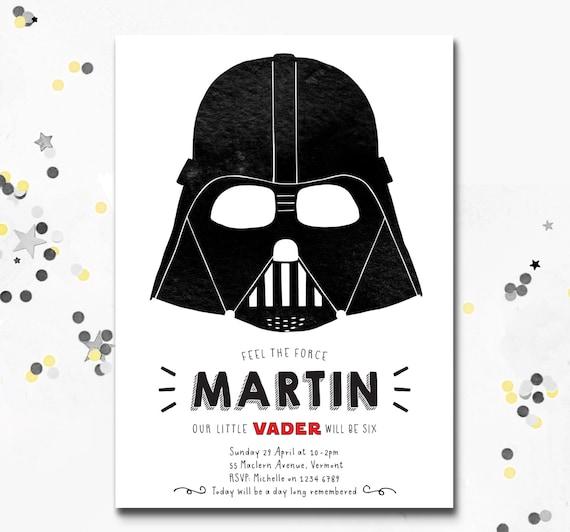 Darth Vader Invitation Star Wars Party Invite Darth Vader Etsy