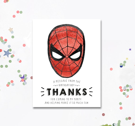 Spiderman Party Spiderman Spiderman Thank You Thank You Etsy